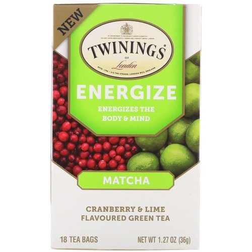 Twinings, Energize Herbal Tea, Matcha, Cranberry & Lime, 18 Tea Bags, 1.27 oz (36 g) فوائد