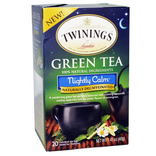 Twinings, Green Tea, Nightly Calm, Naturally Decaffeinated, 20 Tea Bags, 1.41 oz (40 g) فوائد