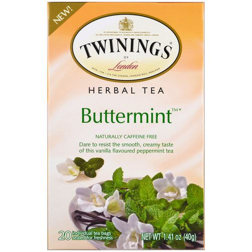 Twinings, Herbal Tea, Buttermint, Caffeine Free, 20 Individual Tea Bags, 1.41 oz (40 g) فوائد
