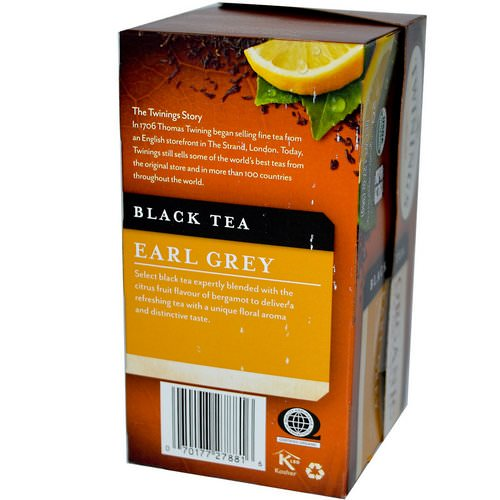 Twinings, Organic Black Tea, Earl Grey, 20 Tea Bags, 1.27 oz (36 g) فوائد
