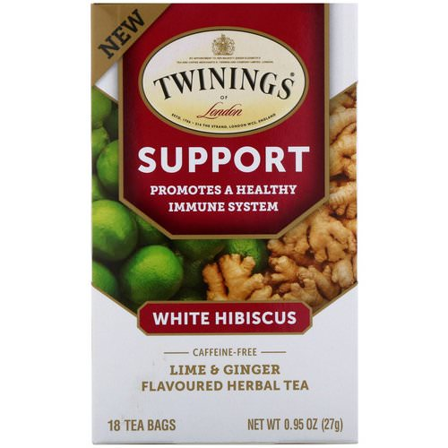 Twinings, Support Herbal Tea, White Hibiscus, Lime & Ginger, Caffeine Free, 18 Tea Bags, 0.95 oz (27 g) فوائد