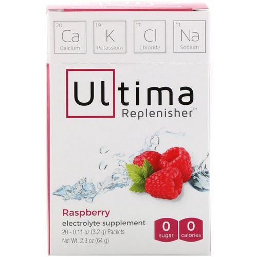 Ultima Replenisher, Electrolyte Supplement, Raspberry, 20 Packets, 0.11 oz (3.2 g) Each فوائد