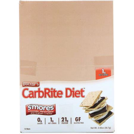 Universal Nutrition, Doctor's CarbRite Diet Bar, Sugar Free, Smores, 12 Bars, 2.00 oz (56.7 g) Each:أشرطة بر,تين مصل اللبن, أشرطة بر,تين الص,يا
