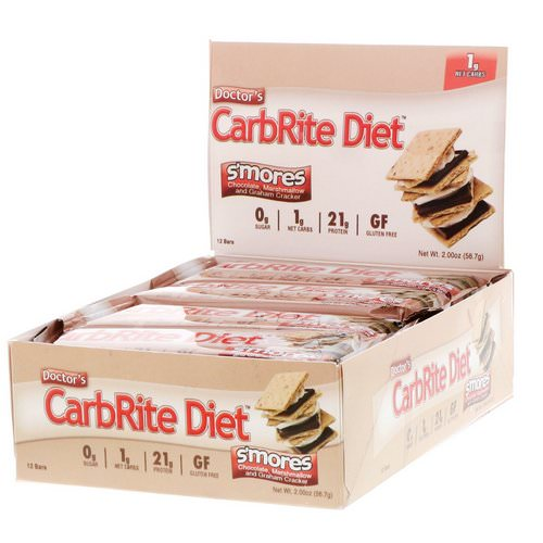 Universal Nutrition, Doctor's CarbRite Diet Bar, Sugar Free, Smores, 12 Bars, 2.00 oz (56.7 g) Each فوائد