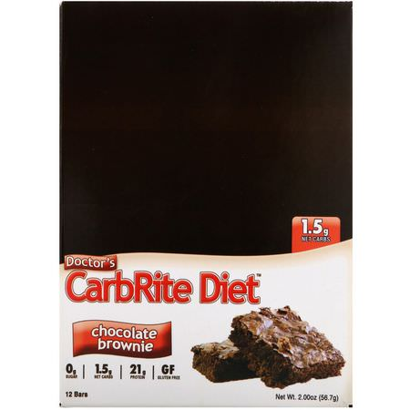 Universal Nutrition, Doctor's CarbRite Diet, Chocolate Brownie, 12 Bars, 2.00 oz (56.7 g) Each:أشرطة بر,تين مصل, أشرطة بر,تين ف,ل الص,يا