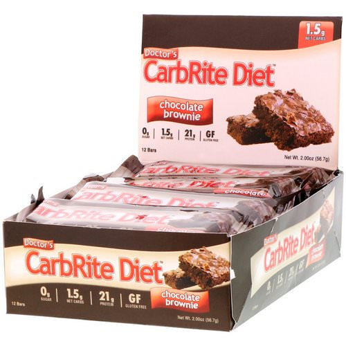 Universal Nutrition, Doctor's CarbRite Diet, Chocolate Brownie, 12 Bars, 2.00 oz (56.7 g) Each فوائد