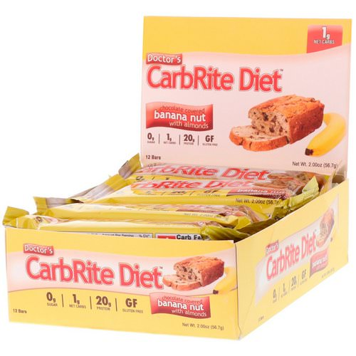 Universal Nutrition, Doctor's CarbRite Diet, Chocolate Covered Banana Nut with Almonds, 12 Bars, 2 oz (56.7 g) Each فوائد