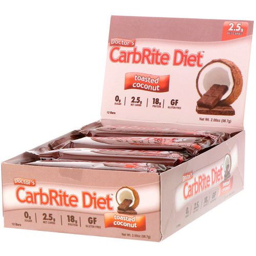 Universal Nutrition, Doctor's CarbRite Diet, Toasted Coconut, 12 Bars, 2.0 oz (56.7 g) Each فوائد
