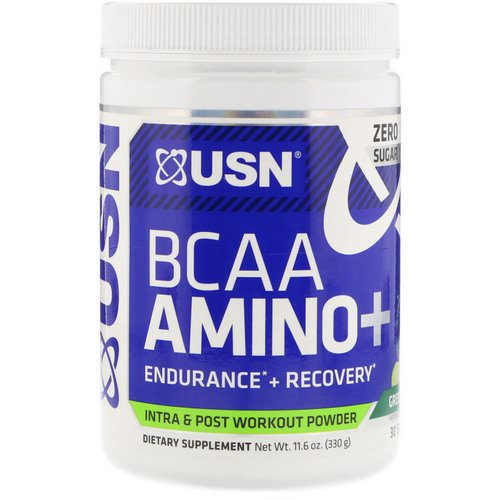 USN, BCAA Aminos Plus, Green Apple, 11.6 oz (330 g) فوائد