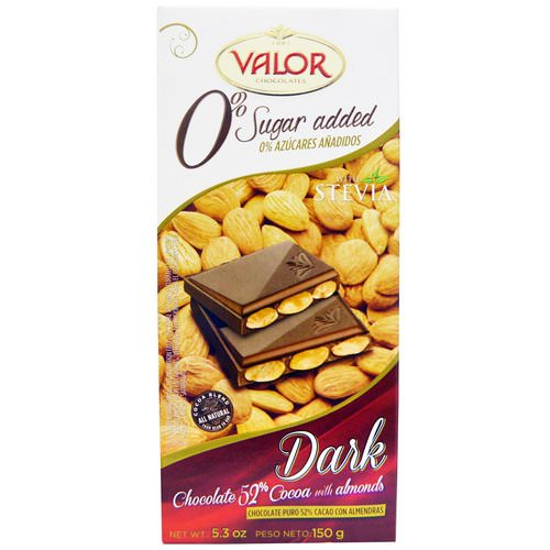 Valor, 0% Sugar Added, Dark Chocolate, 52% Cocoa with Almonds, 5.3 oz (150 g) فوائد