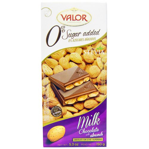Valor, 0% Sugar Added, Milk Chocolate with Almonds, 5.3 oz (150 g) فوائد