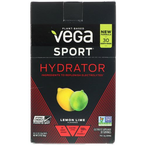 Vega, Hydrator, Lemon Lime, 30 Packs, 0.1 oz (2.8 g) Each فوائد