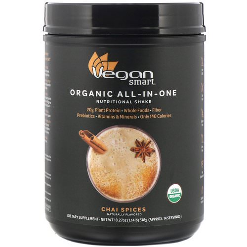VeganSmart, Organic All-In-One Nutritional Shake, Chai Spices, 18.27 oz (518 g) فوائد