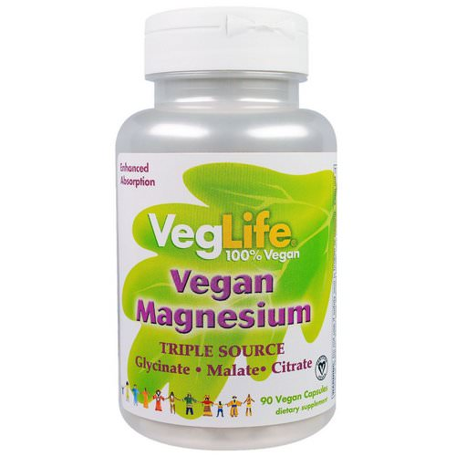 VegLife, Vegan Magnesium, Triple Source, 90 Vegan Caps فوائد