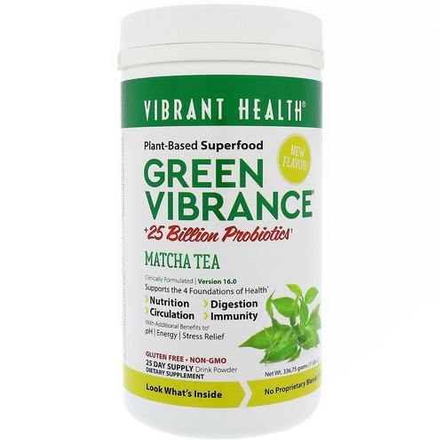 Vibrant Health, Green Vibrance +25 Billion Probiotics, Version 16.0, Matcha Tea, 11.88 oz (336.75 g) فوائد
