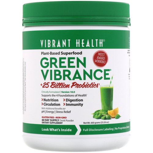 Vibrant Health, Green Vibrance +25 Billion Probiotics, Version 18.0, 23.28 oz (660 g) فوائد