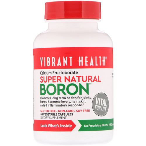 Vibrant Health, Super Natural Boron, 60 Vegetable Capsules فوائد