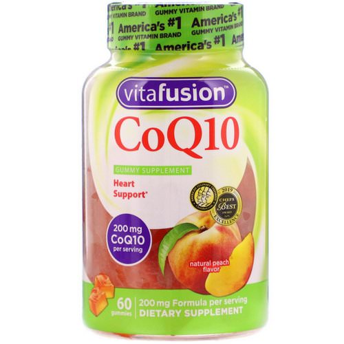 VitaFusion, CoQ10, Adult Supplement, Natural Peach Flavor, 200 mg, 60 Gummies فوائد