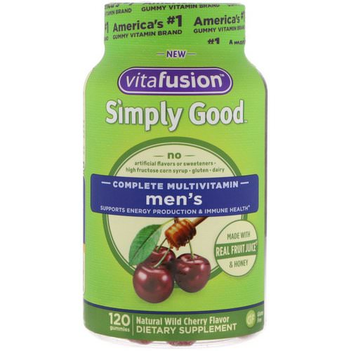 VitaFusion, Simply Good, Men's Complete Multivitamin, Natural Wild Cherry Flavor, 120 Gummies فوائد