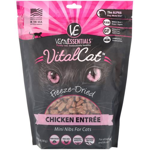 Vital Essentials, Vital Cat, Freeze-Dried Mini Nibs For Cats, Chicken Entree, 12 oz (340 g) فوائد