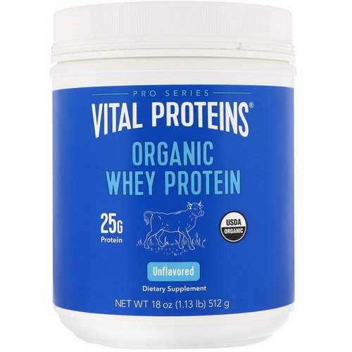 Vital Proteins, Organic Whey Protein, Unflavored, 1.1 lbs (512 g) فوائد