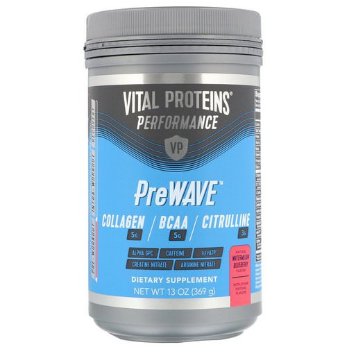 Vital Proteins, Performance, PreWave, Natural Watermelon Blueberry, 13 oz (369 g) فوائد