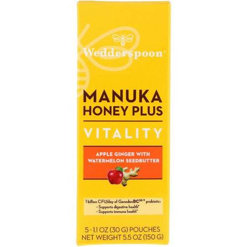 Wedderspoon, Manuka Honey Plus, Vitality, Apple Ginger with Watermelon Seedbutter, 5 Pouches, 1.1 oz (30 g) Each فوائد