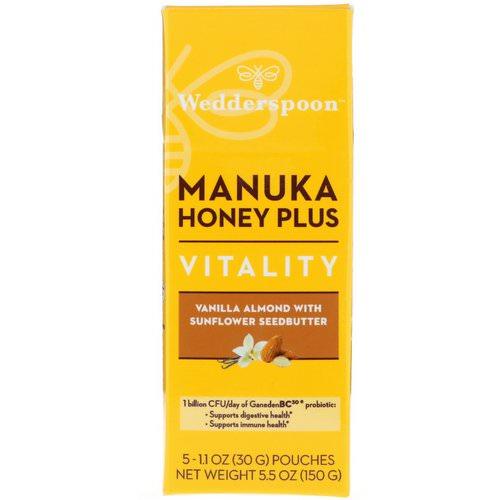 Wedderspoon, Manuka Honey Plus, Vitality, Vanilla Almond with Sunflower Seedbutter, 5 Pouches, 1.1 oz (30 g) Each فوائد