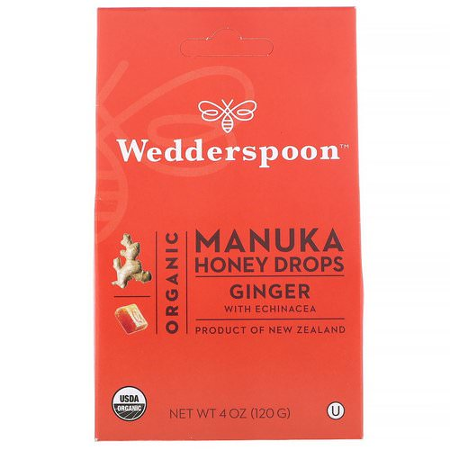 Wedderspoon, Organic Manuka Honey Drops, Ginger with Echinacea, 4 oz (120 g) فوائد
