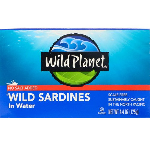 Wild Planet, Wild Sardines In Water, No Salt Added, 4.4 oz (125 g) فوائد