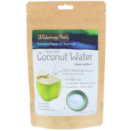 Wilderness Poets, Instant Coconut Water Powder, Freeze Dried, 4 oz (113.4 g) فوائد
