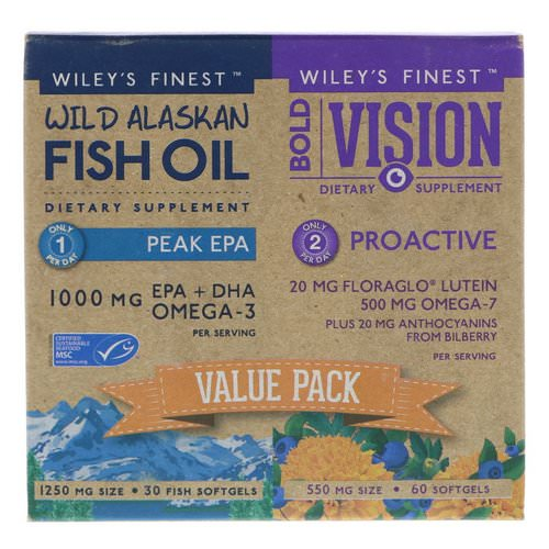 Wiley's Finest, Bold Vision, Proactive & Wild Alaskan Fish Oil, Peak EPA, Value Pack, 550 mg & 1250 mg, 60 Softgels & 30 Softgels فوائد