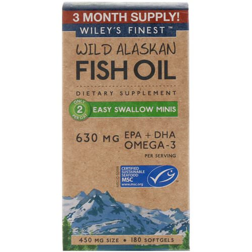 Wiley's Finest, Wild Alaskan Fish Oil, Easy Swallow Minis, 450 mg, 180 Softgels فوائد