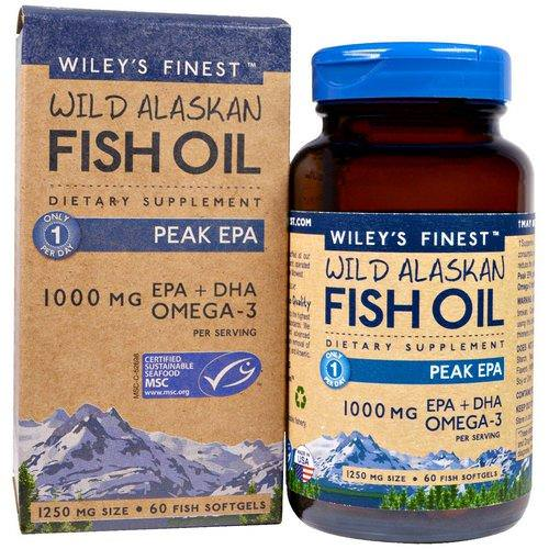Wiley's Finest, Wild Alaskan Fish Oil, Peak EPA, 1250 mg, 60 Fish Softgels فوائد