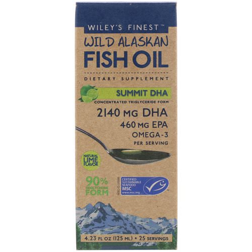 Wiley's Finest, Wild Alaskan Fish Oil, Summit DHA, Natural Lime Flavor, 4.23 fl oz (125 ml) فوائد