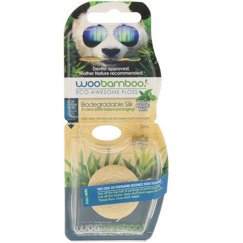 Woobamboo, Eco-Awesome Floss, Biodegradable Silk, Natural Mint, 37 m فوائد