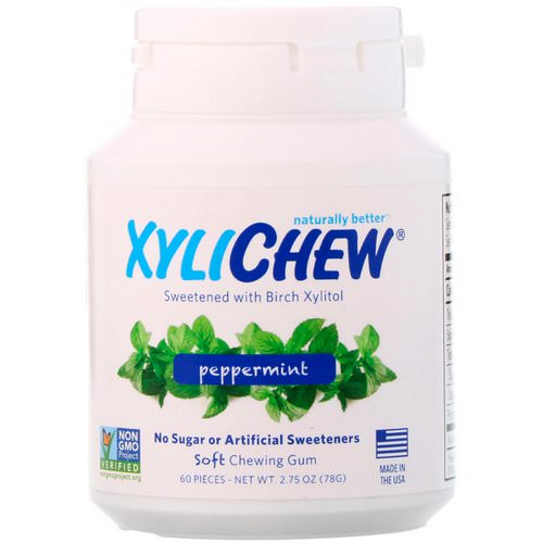 Xylichew, Sweetened with Birch Xylitol, Peppermint, 60 Pieces, 2.75 oz (78 g) فوائد