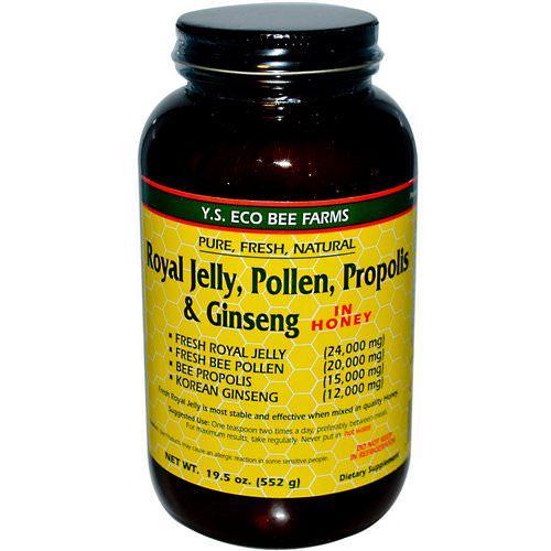 Y.S. Eco Bee Farms, Royal Jelly, Pollen, Propolis & Ginseng in Honey, 1.2 lbs (552 g) فوائد