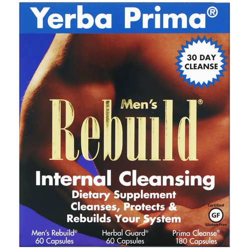 Yerba Prima, Men's Rebuild Internal Cleansing, 3 Part Program, 3 Bottles فوائد