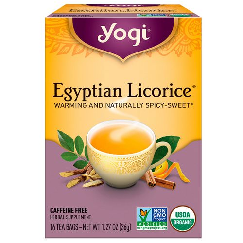 Yogi Tea, Egyptian Licorice, Caffeine Free, 16 Tea Bags, 1.27 oz (36 g) فوائد