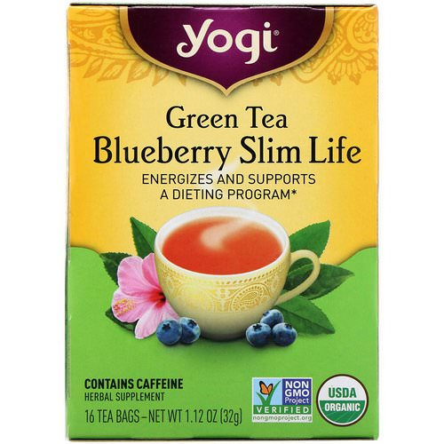 Yogi Tea, Organic, Green Tea Blueberry Slim Life, 16 Tea Bags, 1.12 oz (32 g) فوائد