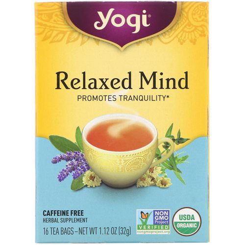Yogi Tea, Organic Relaxed Mind, Caffeine Free, 16 Tea Bags, 1.12 oz (32 g) فوائد