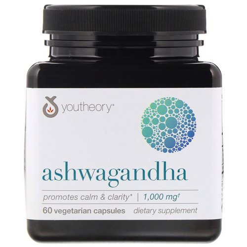 Youtheory, Ashwagandha, 1,000 mg, 60 Vegetarian Capsules فوائد
