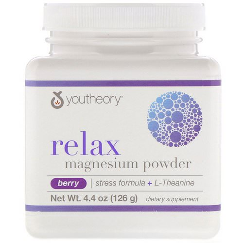 Youtheory, Relax, Magnesium Powder, Stress Formula + L-Theanine, Berry, 4.4 oz (126 g) فوائد