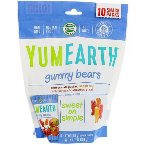 YumEarth, Gummy Bears, Assorted Flavors, 10 Snack Packs, 0.7 oz (19.8 g) Each فوائد
