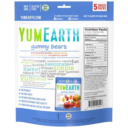 YumEarth, Gummy Bears, Assorted Flavors, 5 Snack Packs, 0.7 oz (19.8 g) Each:حل,ى, ش,ك,لاتة