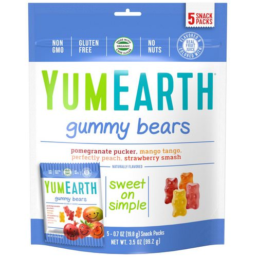 YumEarth, Gummy Bears, Assorted Flavors, 5 Snack Packs, 0.7 oz (19.8 g) Each فوائد