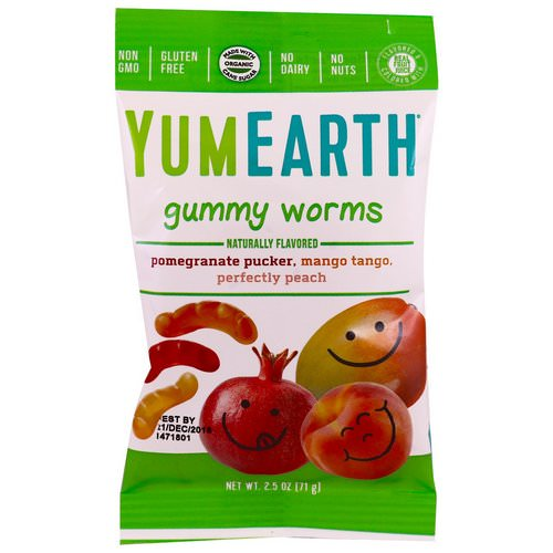 YumEarth, Gummy Worms, Assorted Flavors, 12 Packs, 2.5 oz (71 g) Each فوائد