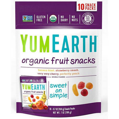 YumEarth, Organic Fruit Snacks, Original, 10 Packs, 0.7 oz (19.8 g) Each فوائد