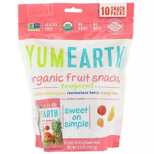 YumEarth, Organic Fruit Snacks, Tropical, 10 Packs, 0.62 oz (17.6 g) Each فوائد